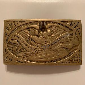 Vintage brass belt buckle 1776 1976 USA eagle flag